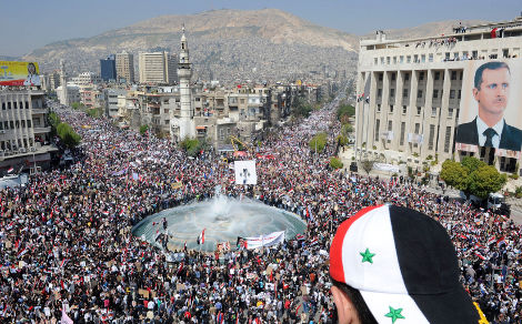 Une manifestation pro-gouvernementale à Damas, le 29 mars 2011 (Wael Hmedan/Reuters)