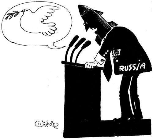 """Les discours de ce qui tient lieu de """"diplomatie"""" à la Russie sur la """"paix"""" (dessin de Ali Farzat)"""