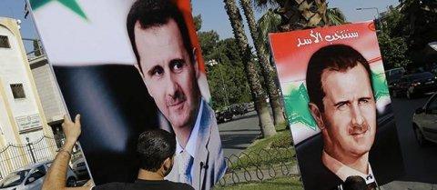 Les affiches de campagne pour la réélection de Bachar el-Assad ont été installées dans les rues de Damas. JOSEPH EID / AFP