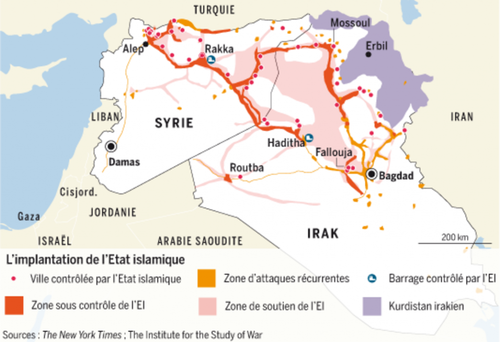 Carte de l'implantation de l'Etat islamique. | Infographie Le Monde