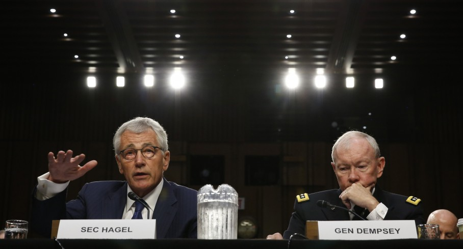 Secretary of Defense Chuck Hagel (left) and Chairman of the Joint Chiefs of Staff Gen. Martin Dempsey testify during the Senate Armed Services Committee hearing on U.S. policy toward Iraq and Syria and the threat posed by the Islamic State on Capitol Hill in Washington on Sept. 16. (Kevin Lamarque/Reuters)