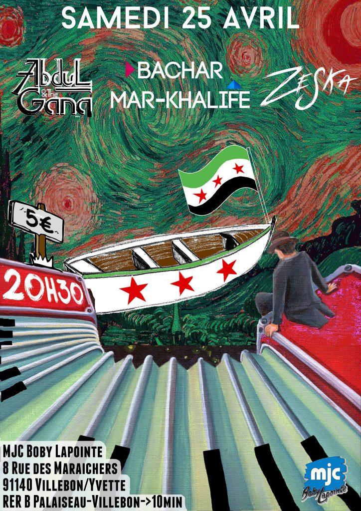 25/04/2015 Villebon-Yvette : Concert «Zeska + ABDUL & the GANG + BACHAR MAR-KHALIFE»