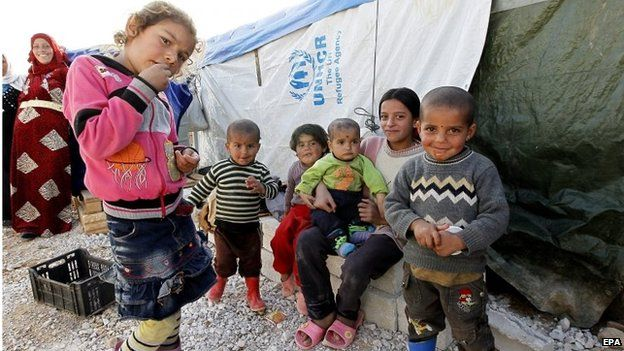Syrian refugee children in Bekaa Valley, Lebanon