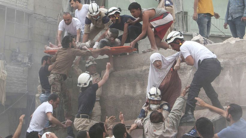After a reported barrel bomb attack by Syrian government forces in Aleppo