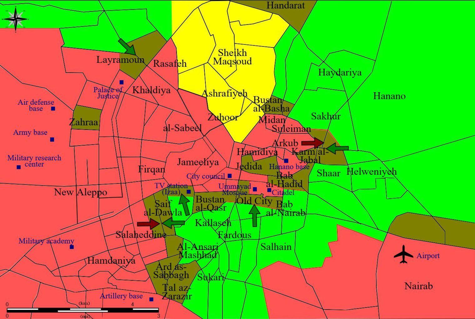 En rose, les forces du régime; en vert, celles de l'opposition; en vert foncé: lignes de démarcations et de combats; en jaune, les forces kurdes.