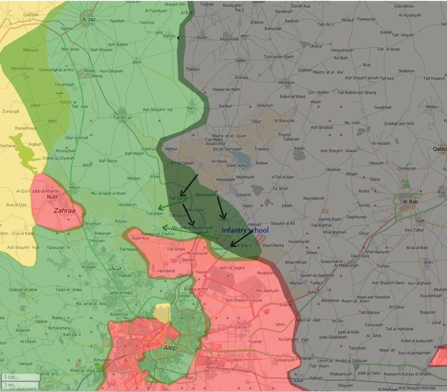 La région d'Alep avant l'offensive de 2016 (en vert, zones rebelles, en rose, celles du régime, en jaune, zone kurde, en vert foncé, lignes de démarcations et de combats, en gris, zones EI).