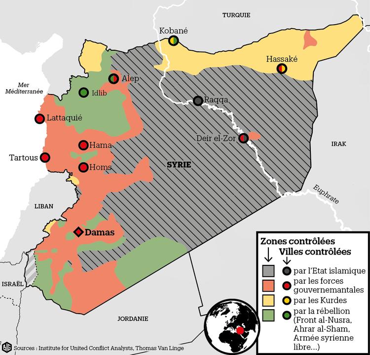 Les zones de contrôles en Syrie