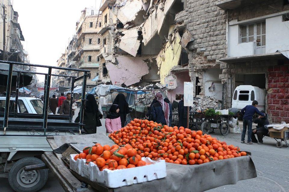 Dans les quartiers Est d'Alep, début 2016.