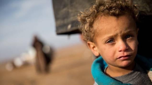 Enfant syrien de Raqqa , le 17 janvier 2016