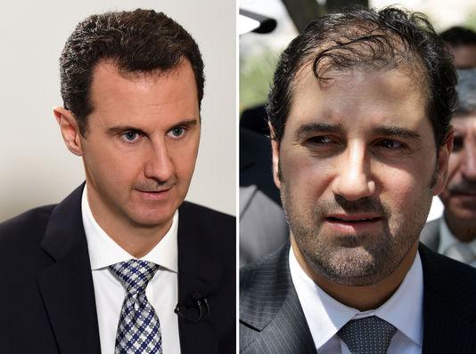 A gauche, le président syrien Bachar Al-Assad à Damas, le 20 février 2016. A droite, le businessman syrien Rami Makhlouf à Damas, le 17 juillet 2010.