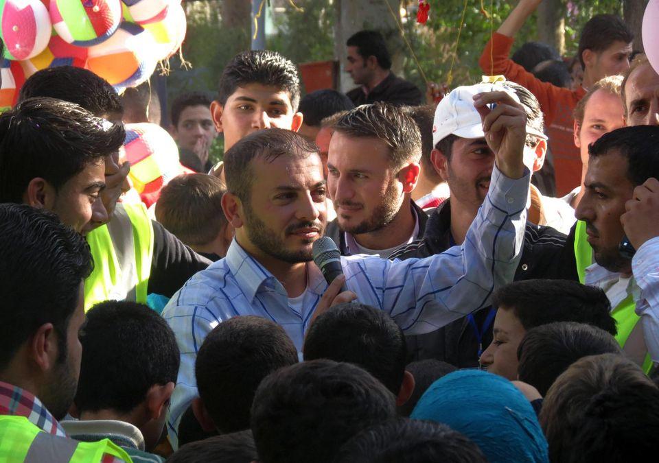 Le 30 octobre 2012, Zaher al-Sherqat lors d'un festival à Al-Bab, en Syrie.