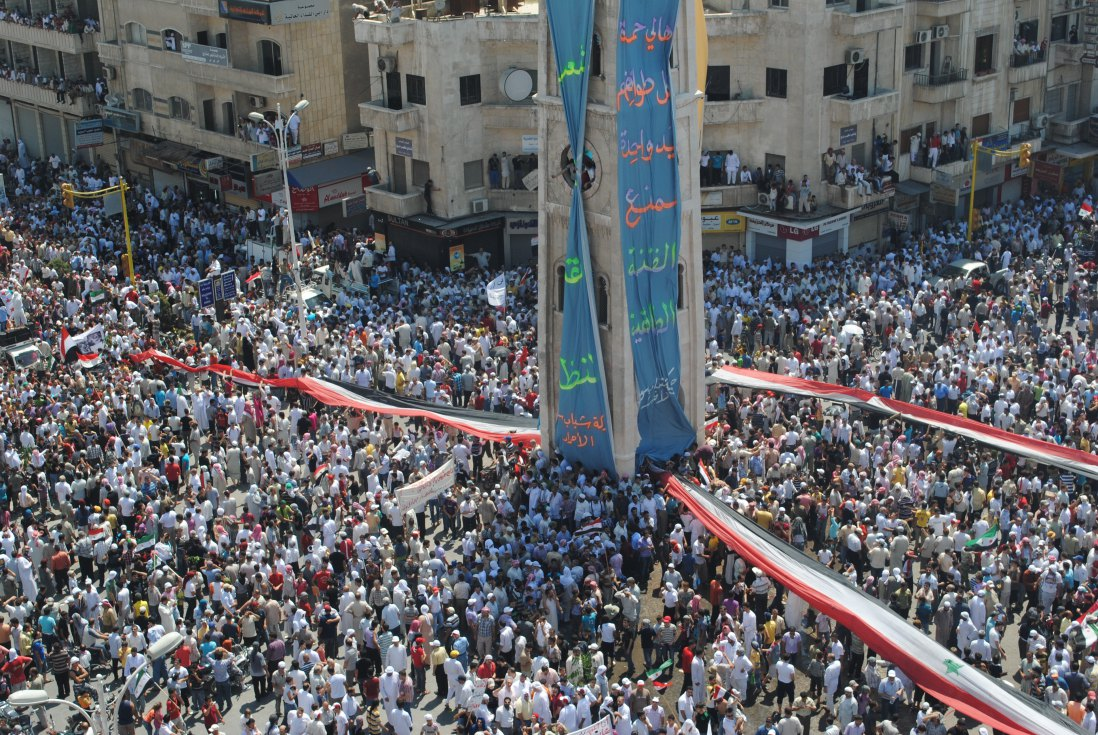Syrians demonstrate against the government after Friday prayers in Hama on July 29, 2011. (AFP/Getty Images)