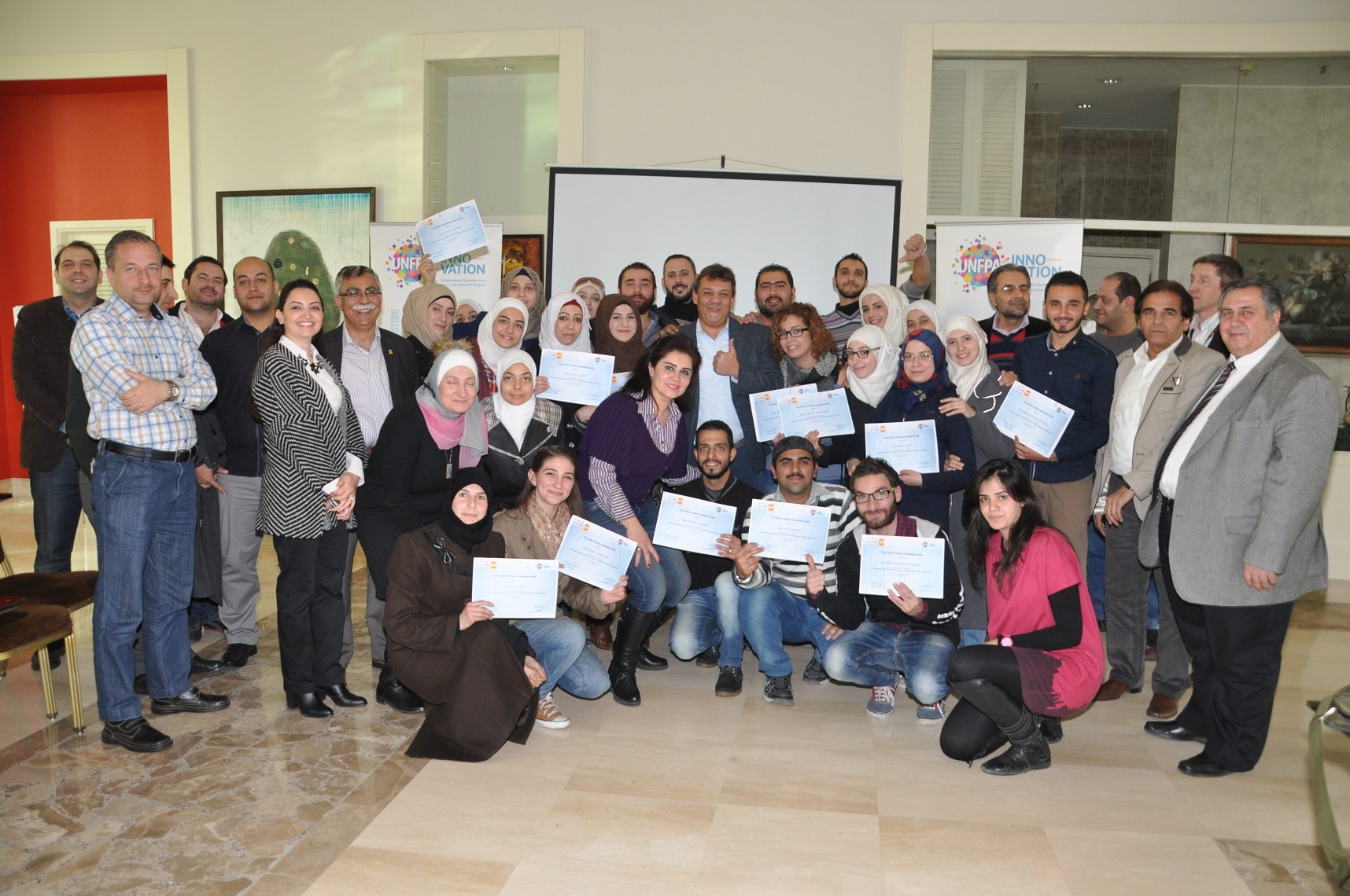 Of the 28 students on the UNFPA's startup training course, 20 were women. (UNFPA Syria)