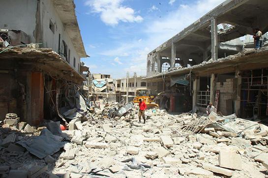 //La ville de Binnish, située dans la province d'Idlib (REUTERS/Ammar Abdullah)