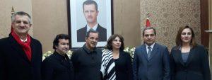 Jean Lassalle, Nicolas Dhuicq et Thierry Mariani en compagnie de députés syriens, le 5 janvier 2017 - (Alice Serrano, Radio France)