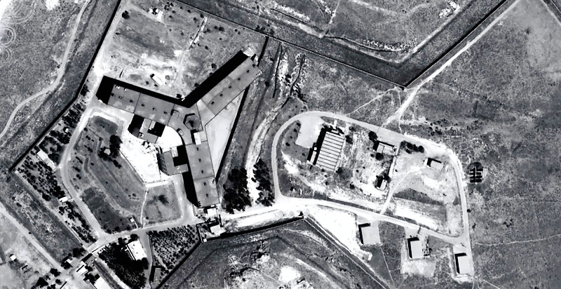 A handout satellite image by Amnesty International shows the military-run Saydnaya prison, one of Syria's largest detention centres located 30 kilometres (18 miles) north of Damascus. (AFP/AFP/Handout)
