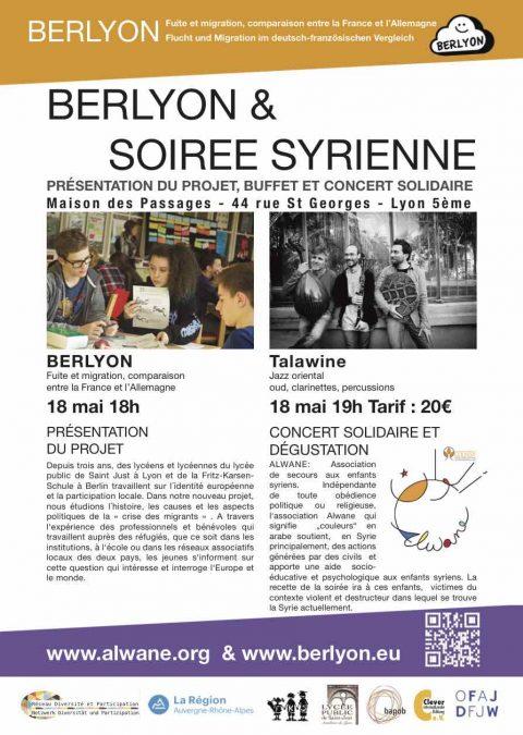 BERLYON (Lycée Saint Just) et Soirée syrienne COMPLET