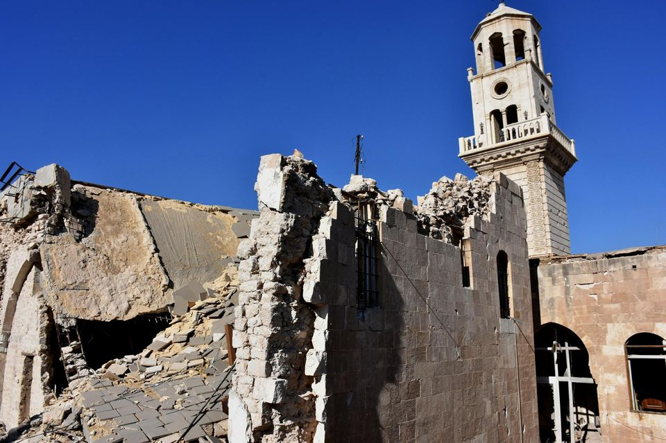Les ruines de la cathédrale arménienne des Quarante-Martyrs, à Alep, le 9 décembre 2016.